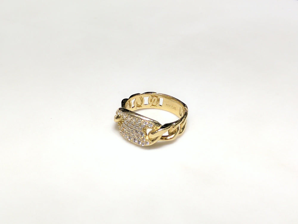 Iced Out Gucci Link Ring 10K – Popular Jewelry