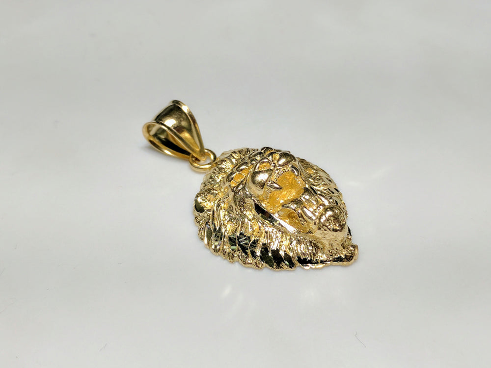 In the center: a lion head pendant with plain 10 and 14 karat gold options 45 degree angle view - Popular Jewelry
