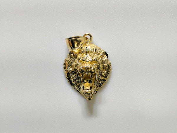In the center: a lion head pendant with plain 10 and 14 karat gold options front facing - Popular Jewelry