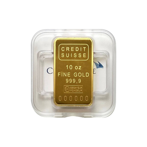 10oz-311g-Fine-Gold-24K-Credit-Suisse-Bar-Front-Only-Sealed-Box-Assay-Certificate