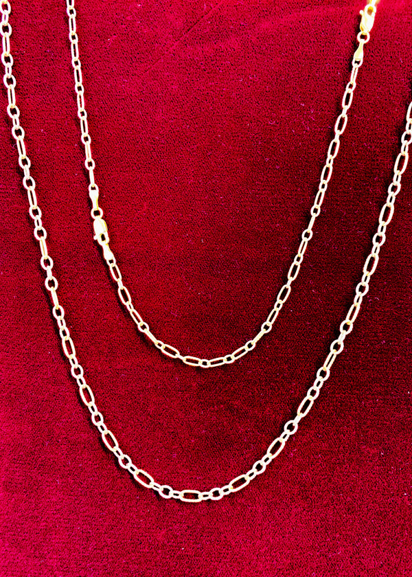 Diamond Cut Figaro Cable Chain (14K).