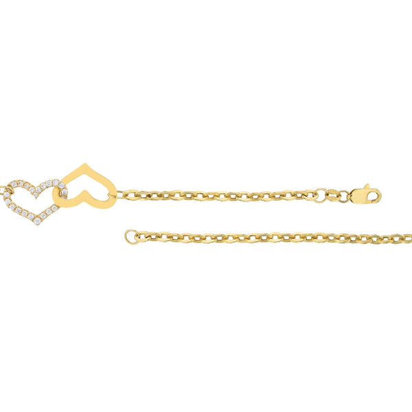 Yellow Gold Double Heart Anklet (14K)
