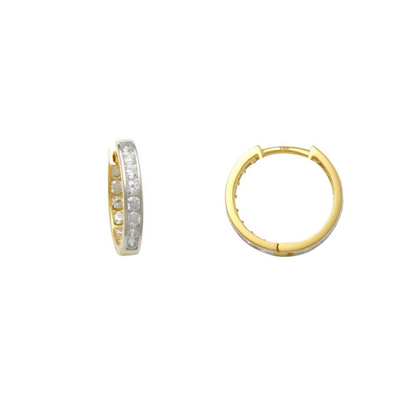 Reversible Zirconia Huggie Earrings (14K) Popular Jewelry New York