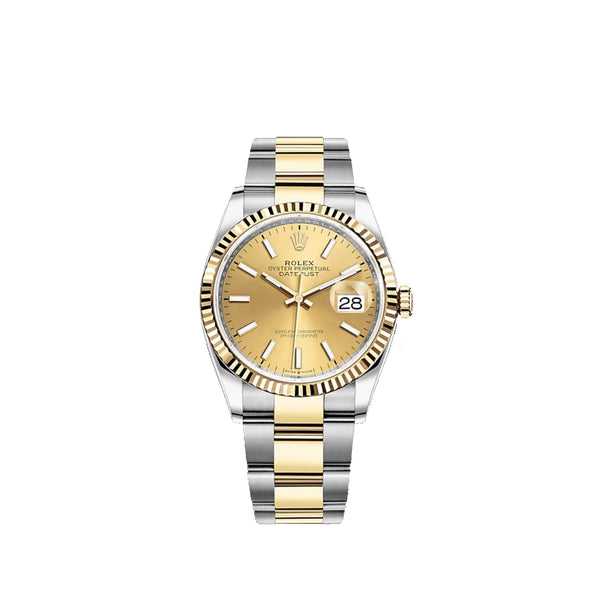 Rolex Datejust 36mm Two Tone Oyster Bracelet Fluted Bezel Champagne Dial