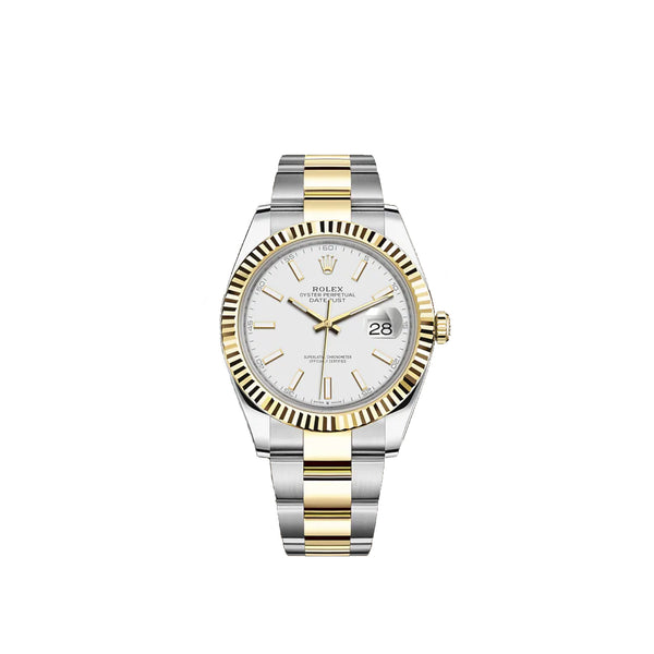 Pre-Owned Rolex 41 mm Datejust Two Tone Oyster Bracelet White Dial