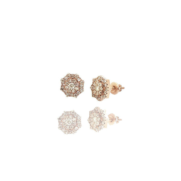 Snowflower Diamond Rose Gold Stud Earrings (14K)