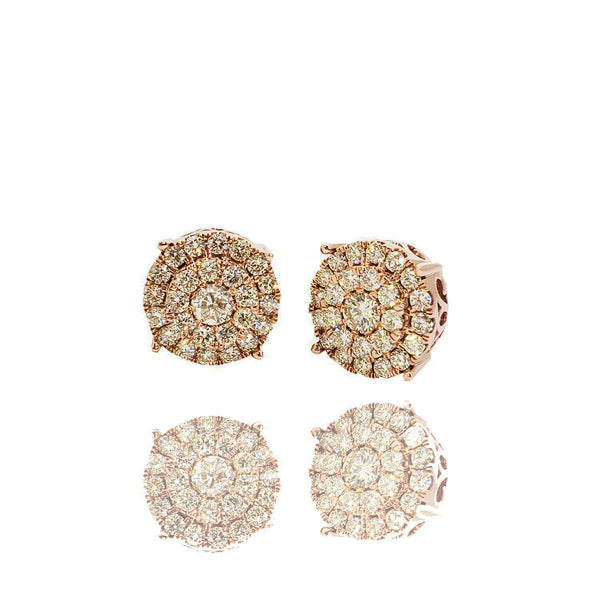 Grand Cluster Diamond Stud Rose Gold Earrings (14K)