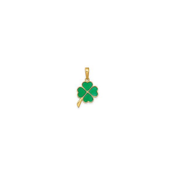 4-Leaf Clover Enameled Pendant (14K) front - Popular Jewelry - New York