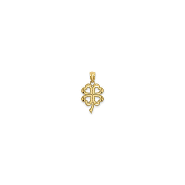 4-Leaf Clover Milgrain Cutout Pendant (14K) front - Popular Jewelry - New York