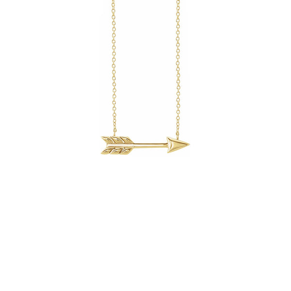 Arrow Necklace yellow (14K) front - Popular Jewelry - New York