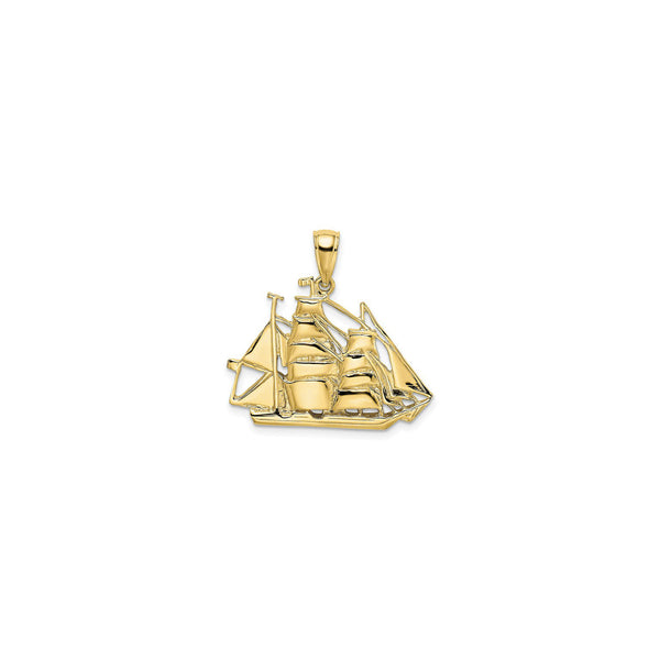 Barque Sailing Ship Pendant (14K) front - Popular Jewelry - New York