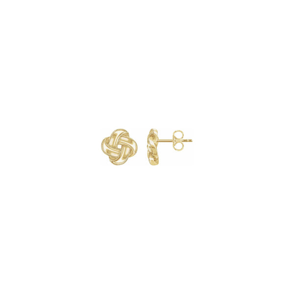 Bordered Love Knot Stud Earrings yellow (14K) main - Popular Jewelry - New York