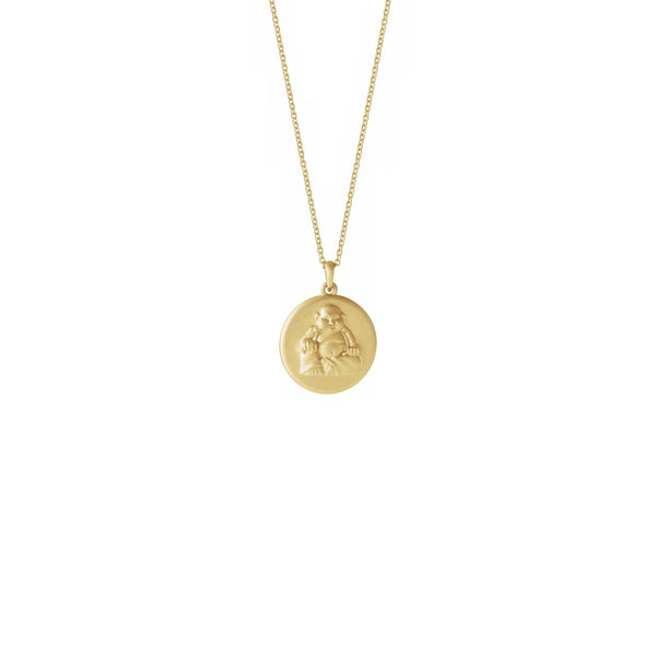 Buddha Medallion Necklace yellow (14K) front - Popular Jewelry - New York