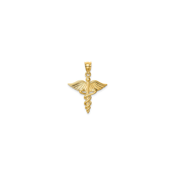Caduceus Symbol Medical 3D Pendant (14K) front - Popular Jewelry - New York