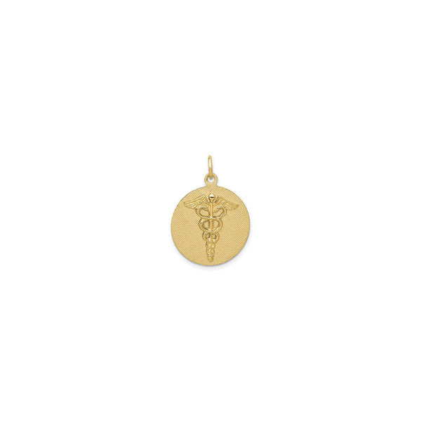 Caduceus Textured Medical Medallion Pendant (14K) front - Popular Jewelry - New York