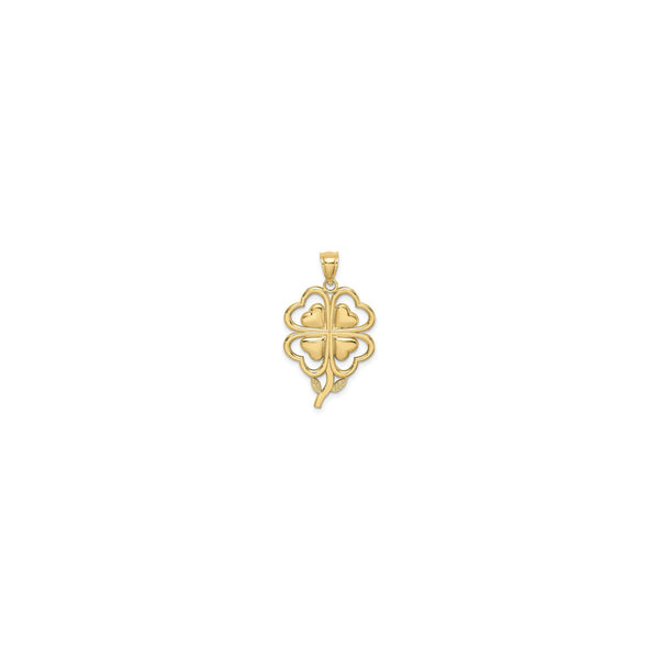 Contoured 4-Leaf Clover Pendant (14K) front - Popular Jewelry - New York