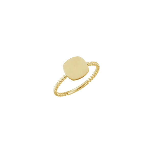 Cushion Square Beaded Stackable Signet Ring yellow (14K) main - Popular Jewelry - New York