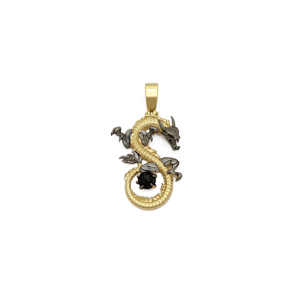 Dark Asian Dragon Pendant (14K) front - Popular Jewelry - New York
