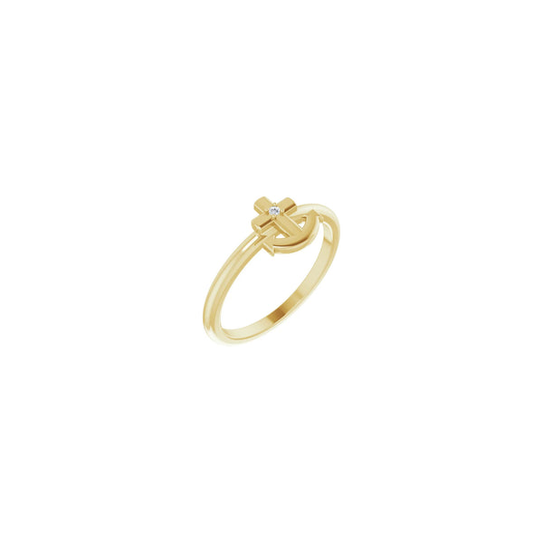 Diamond Anchor Cross Ring yellow (14K) main - Popular Jewelry - New York