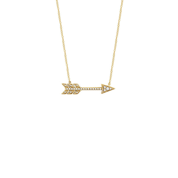 Diamond Arrow Necklace yellow (14K) front - Popular Jewelry - New York