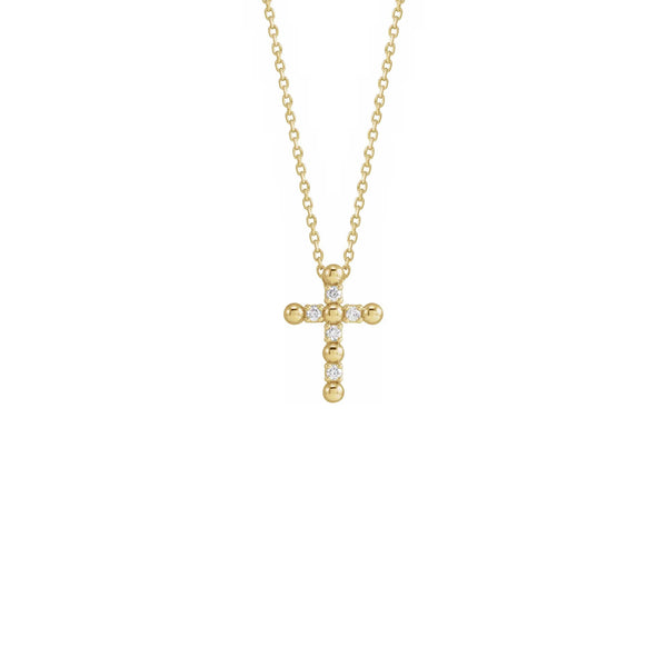 Diamond Beaded Cross Necklace yellow (14K) front - Popular Jewelry - New York