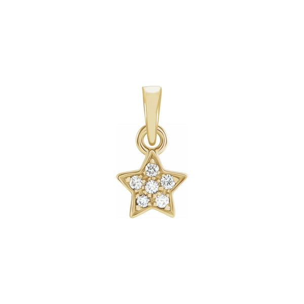 Diamond Cluster Star Pendant yellow (14K) front - Popular Jewelry - New York
