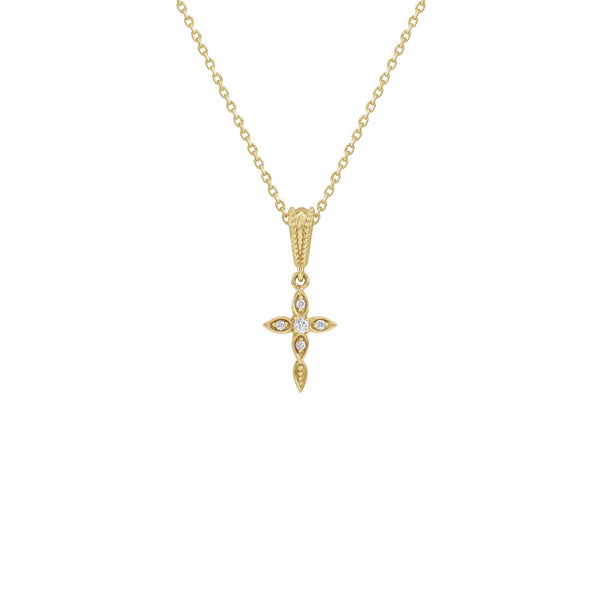 Diamond Drop Cross Necklace yellow (14K) front - Popular Jewelry - New York
