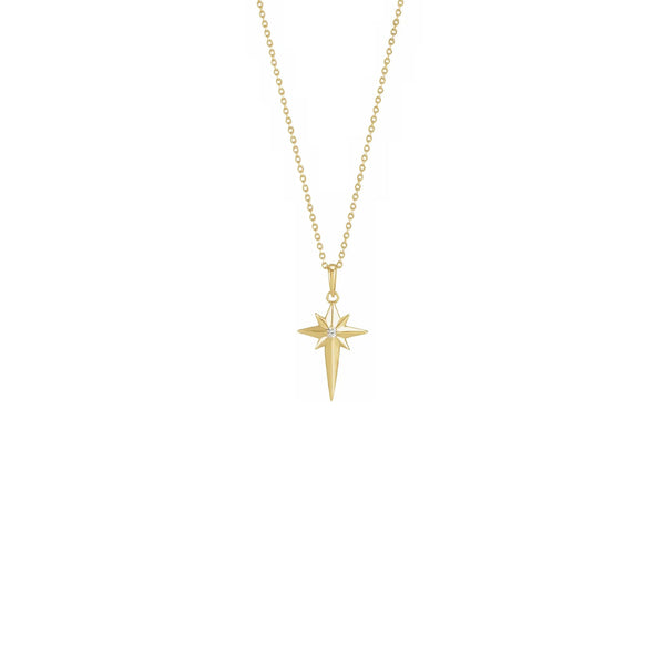 Diamond Incrusted Celestial Cross Necklace yellow (14K) front - Popular Jewelry - New York