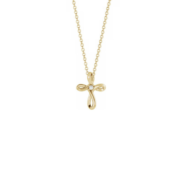 Diamond Incrusted Infinity Cross Necklace yellow (14K) front - Popular Jewelry - New York
