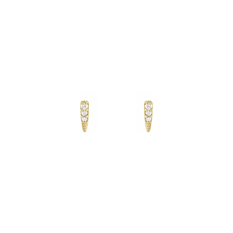 Diamond Incrusted Spike Stud Earrings yellow (14K) front - Popular Jewelry - New York