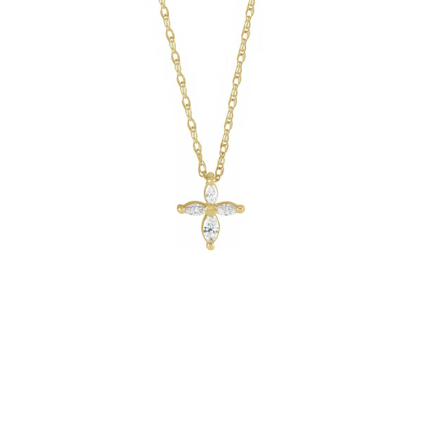 Diamond Marquise Cross Necklace yellow (14K) front - Popular Jewelry - New York