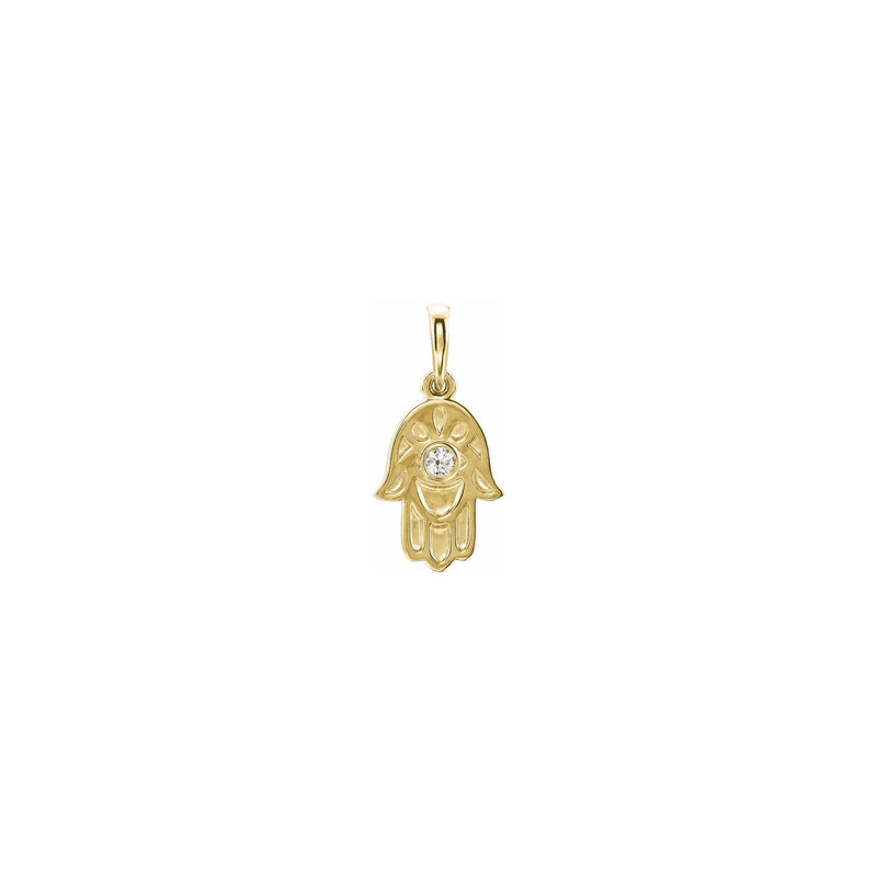 Diamond Solitaire Hamsa Pendant yellow (14K) front - Popular Jewelry - New York