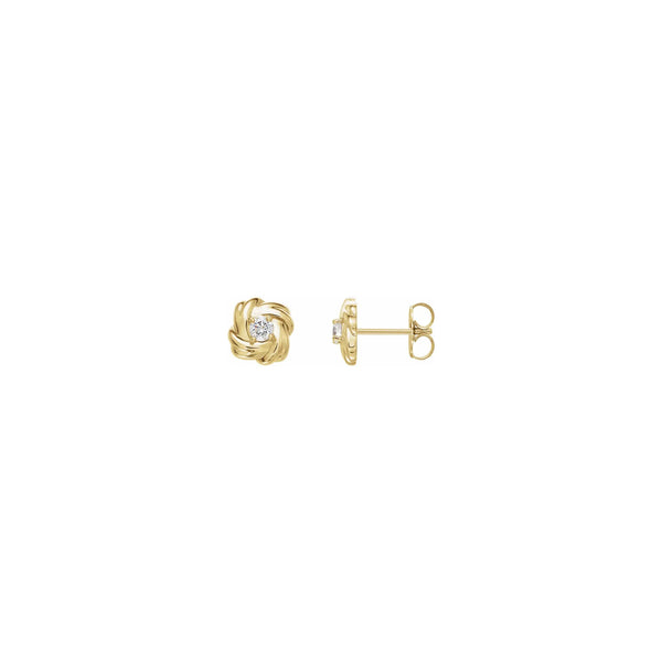 Diamond Solitaire Knot Stud Earrings yellow (14K) main - Popular Jewelry - New York