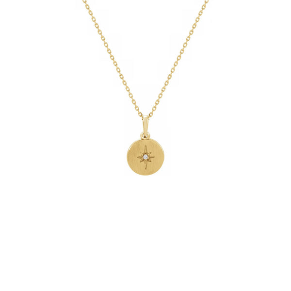 Diamond Starburst Medallion Necklace yellow (14K) front - Popular Jewelry - New York