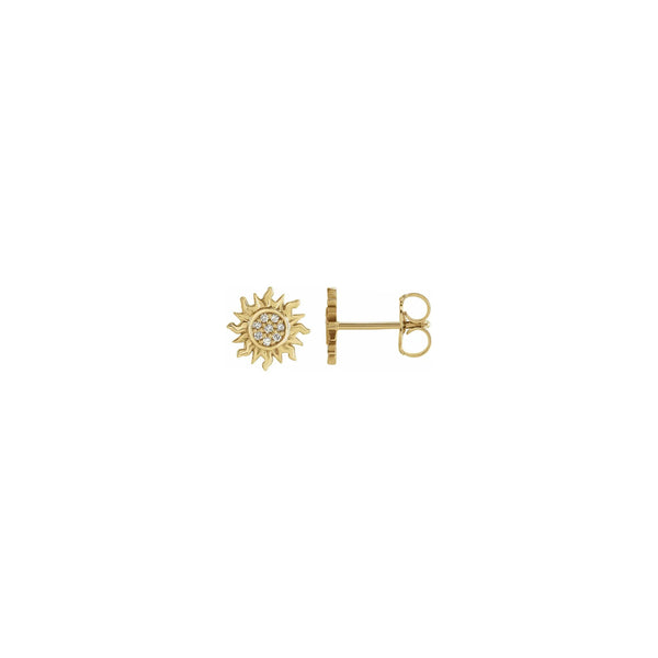 Diamond Sun Stud Earrings yellow (14K) main - Popular Jewelry - New York