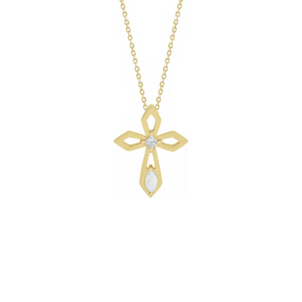 Diamond and Opal Pierced Cross Necklace yellow (14K) front - Popular Jewelry - New York