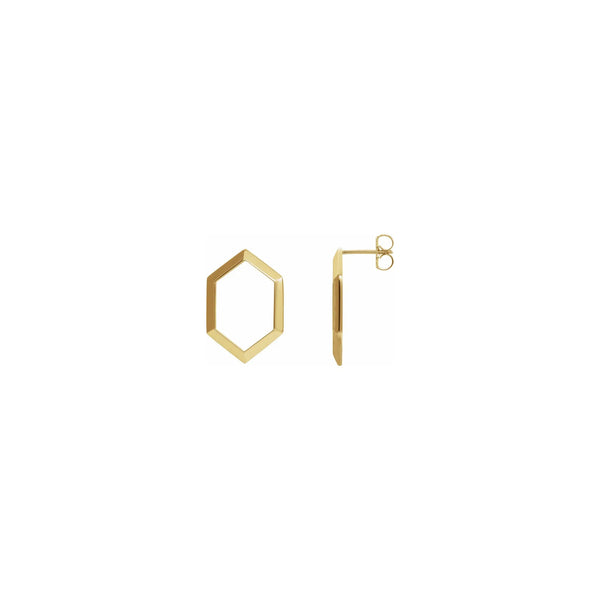 Elongated Hexagon Contour Earrings yellow (14K) main - Popular Jewelry - New York