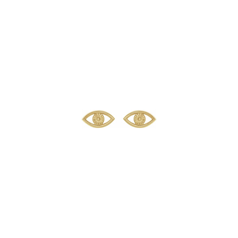 Evil Eye Contour Stud Earrings yellow (14K) front - Popular Jewelry - New York