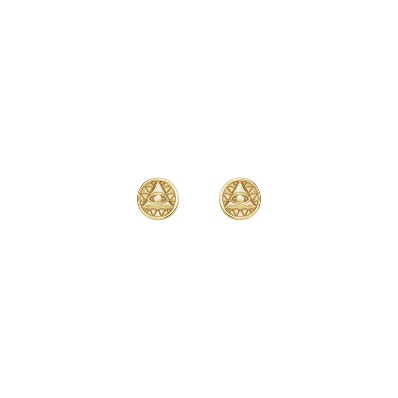 Eye of Providence Stud Earrings yellow (14K) front - Popular Jewelry - New York