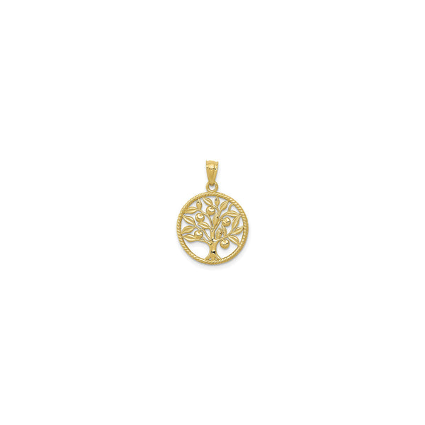 Family Apple Tree Rope Circle Pendant (14K) front - Popular Jewelry - New York