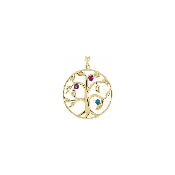 Family Tree Three Gemstone Circle Pendant yellow (14K) front - Popular Jewelry - New York