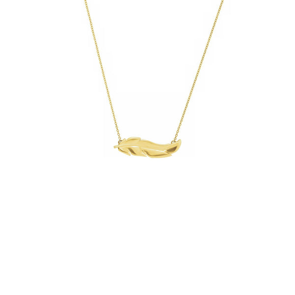Feather Necklace yellow (14K) front - Popular Jewelry - New York