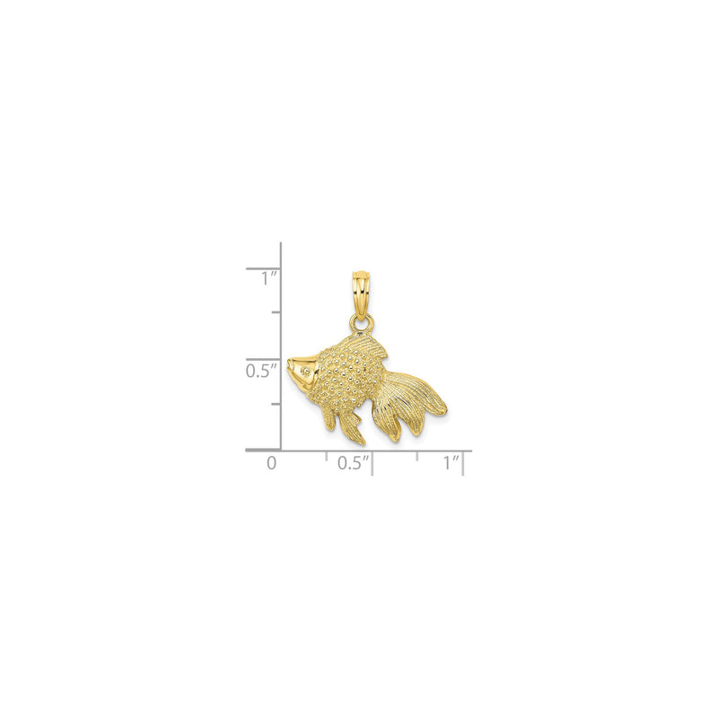 Gold Fish Pendant (14K) scale - Popular Jewelry - New York
