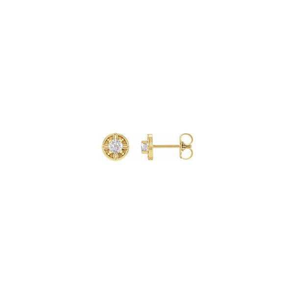 Floral-Inspired Diamond Stud Earrings yellow (14K) main - Popular Jewelry - New York