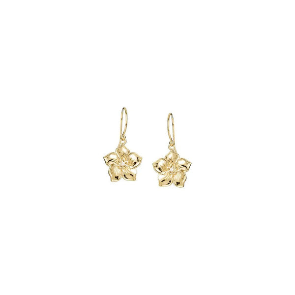 Forget Me Not Flower Dangling Earrings yellow (14K) front - Popular Jewelry - New York