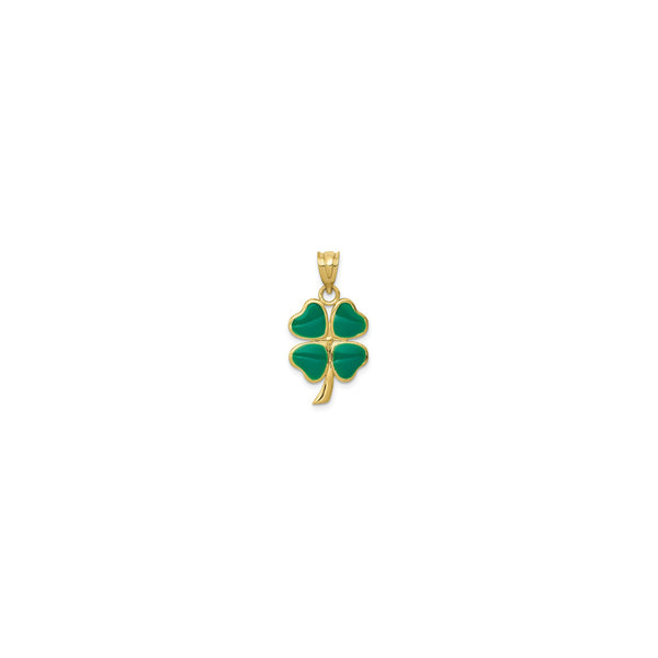Four Leaf Clover Enameled Pendant (14K) front - Popular Jewelry - New York