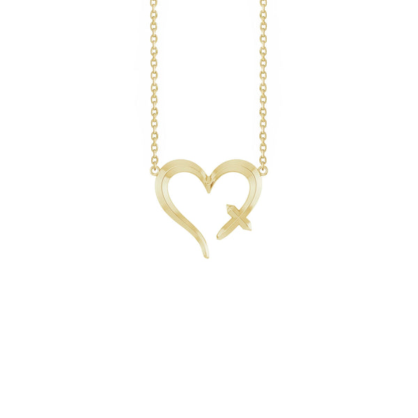 Heart Cross Necklace yellow (14K) front - Popular Jewelry - New York