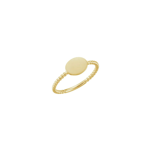 Horizontal Oval Beaded Stackable Signet Ring yellow (14K) main - Popular Jewelry - New York