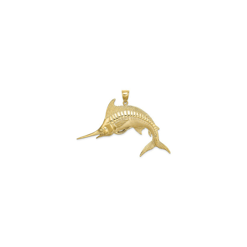 Jumping Marlin Fish Pendant Large (14K) front - Popular Jewelry - New York