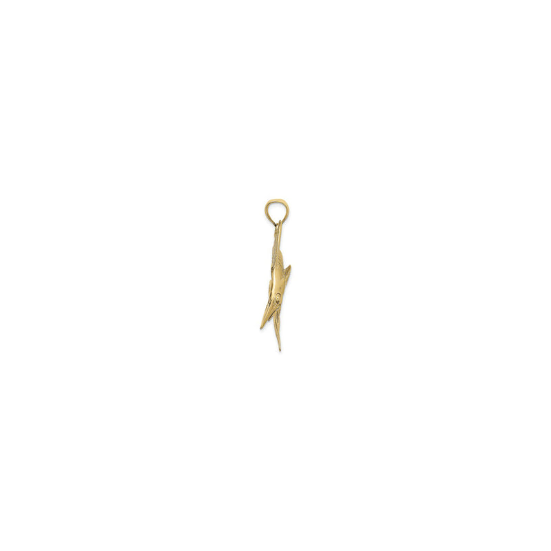 Jumping Marlin Fish Pendant Large (14K) side - Popular Jewelry - New York